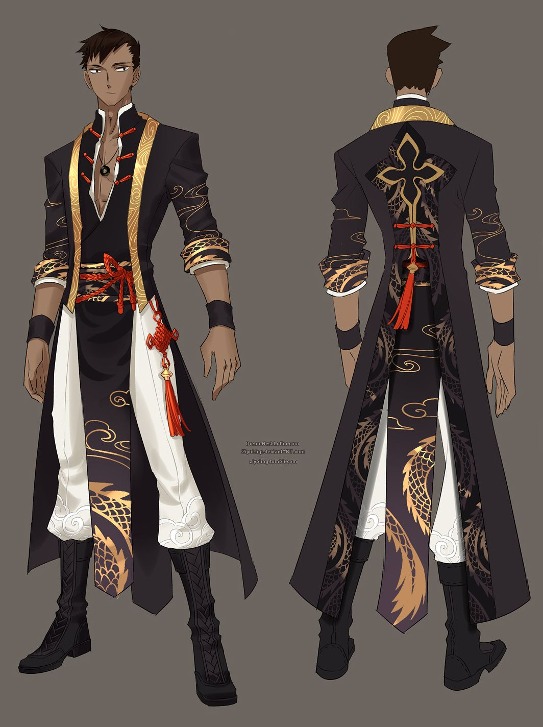 The illustrators who draw male costumes very often create