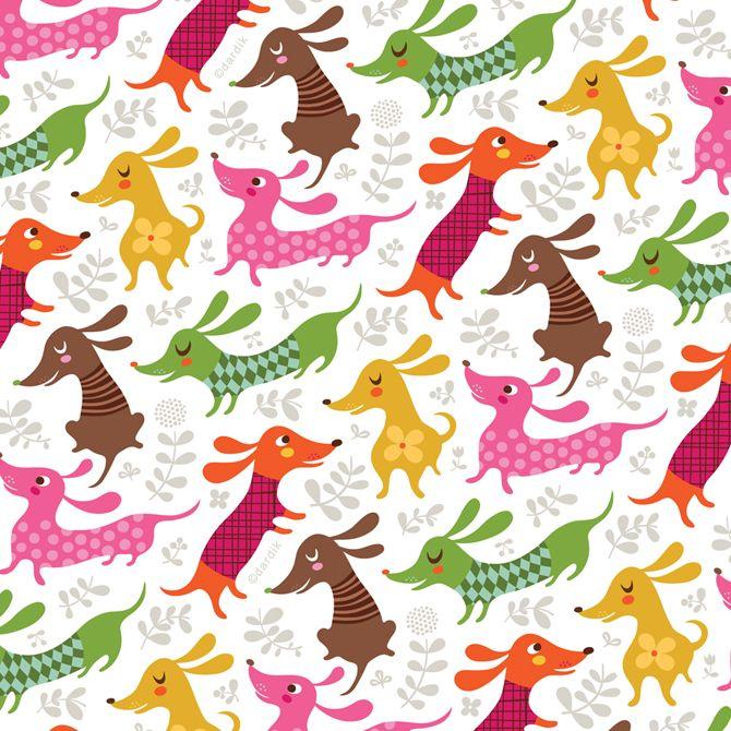 Sausage dogs by artist Helen Dardik.