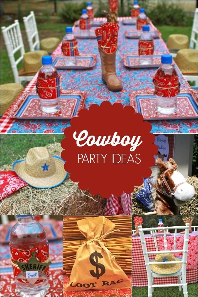 giddy up on over and check out these boys western themed cowboy party ideas for decorations treats and activities - Western Party Decorations
