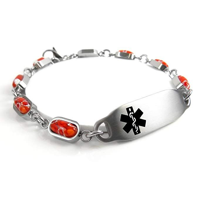 Purple Pre-Engraved /& Customized Insulin Dependent ID Bracelet My Identity Doctor Red Millefiori Glass