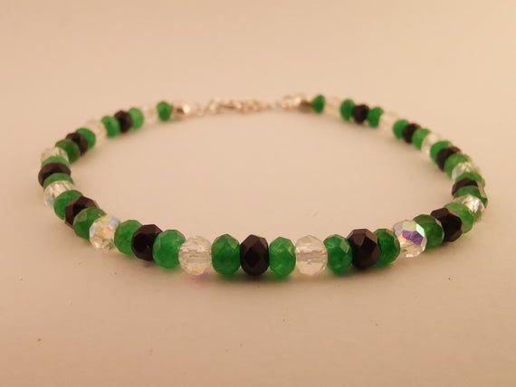 Photo of Emerald,Swarovski Crystal  and Spinel dainty bracelet