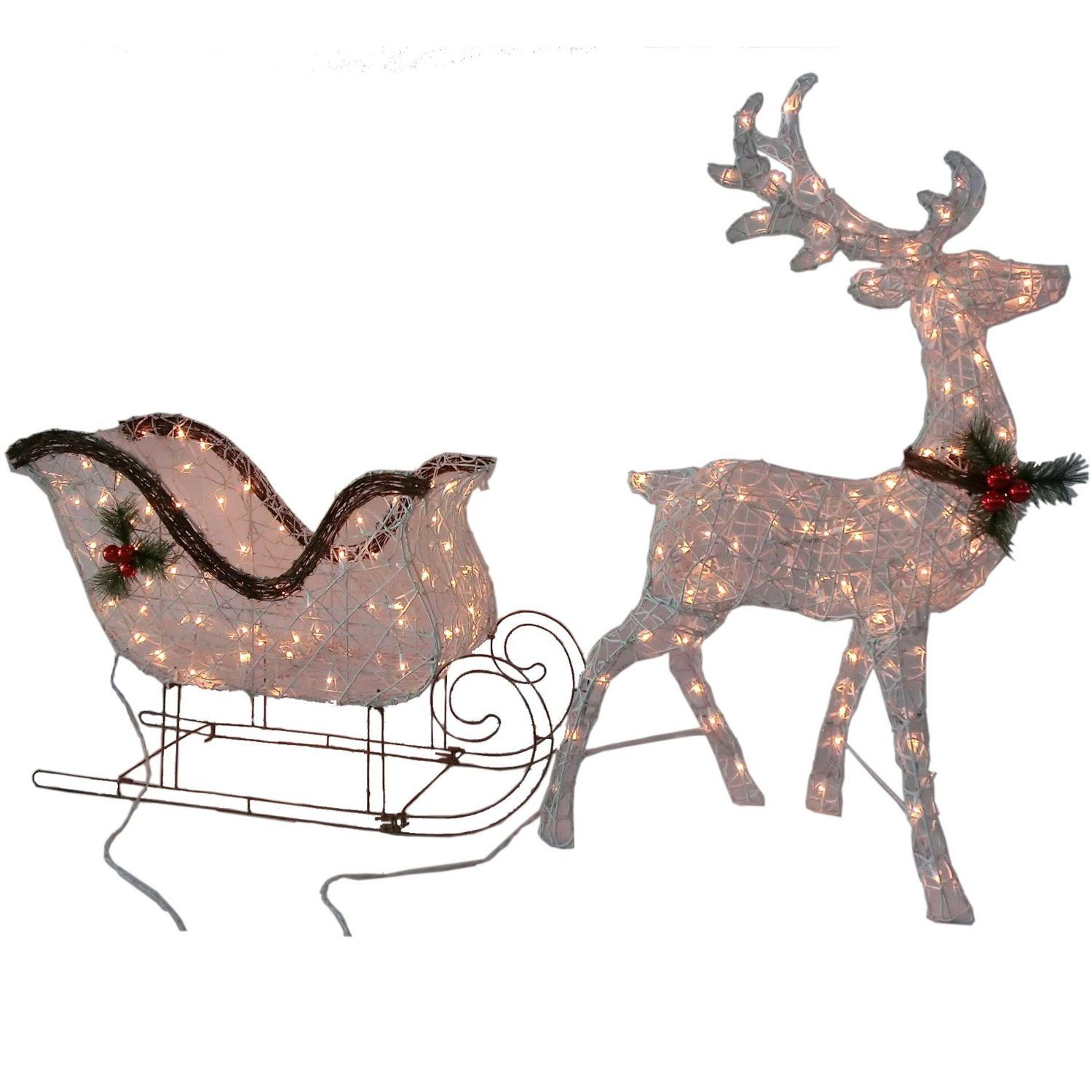 Santa sleigh ornament - 2pc Lighted Reindeer Buck Deer Santa Sleigh Ride Clear Lights Christmas Decor Yard Outdoor Holiday Decoration