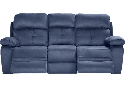 Corinne Blue Reclining Sofa With