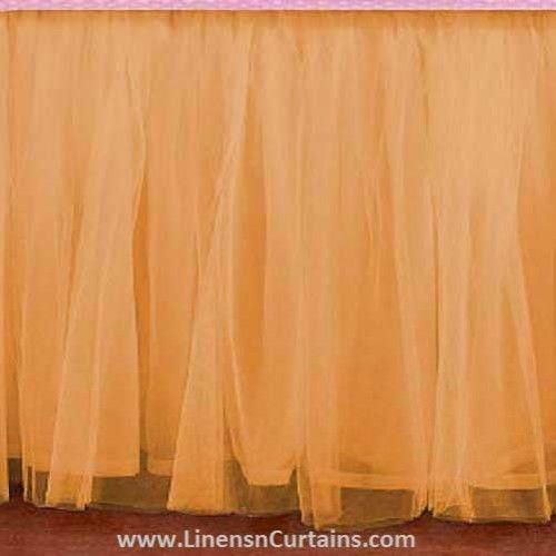 Any Size Gold Tulle Bed Skirt Dust Ruffle Velcro Detachable Queen Full Twin Xl Cal King Daybed Extra Long Split Corner Tulle Bedskirt Bedskirt Ruffle Crib Skirt