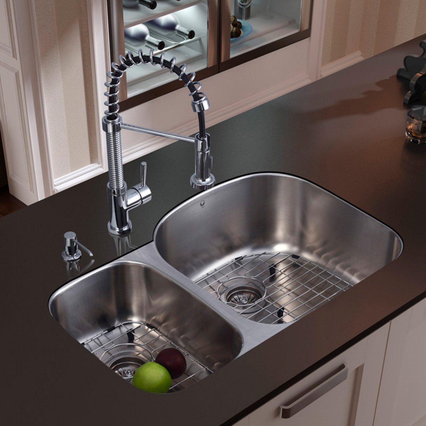 Vigo Platinum VG Double Basin Undermount Kitchen Sink and