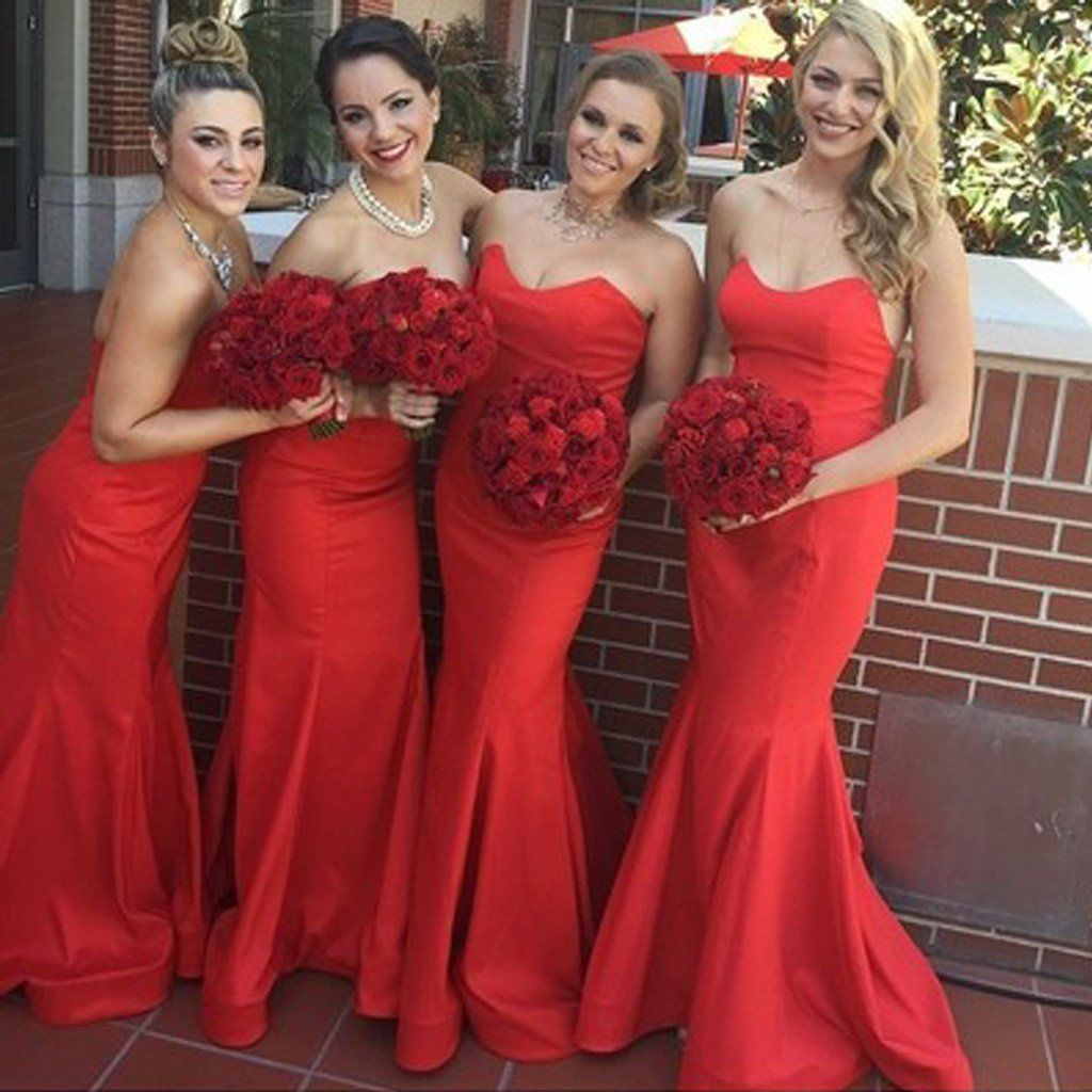 Beautiful stunning red sweetheart sexy mermaid satin long wedding