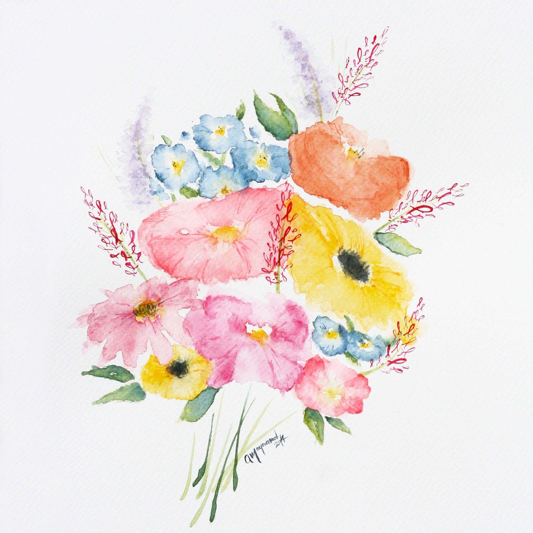 Bouquet de fleurs à l'aquarelle | DeSerres | Dessin ...