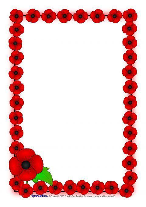 Remembrance Day Poppy A4 Page Borders (SB1778) - SparkleBox Autumn