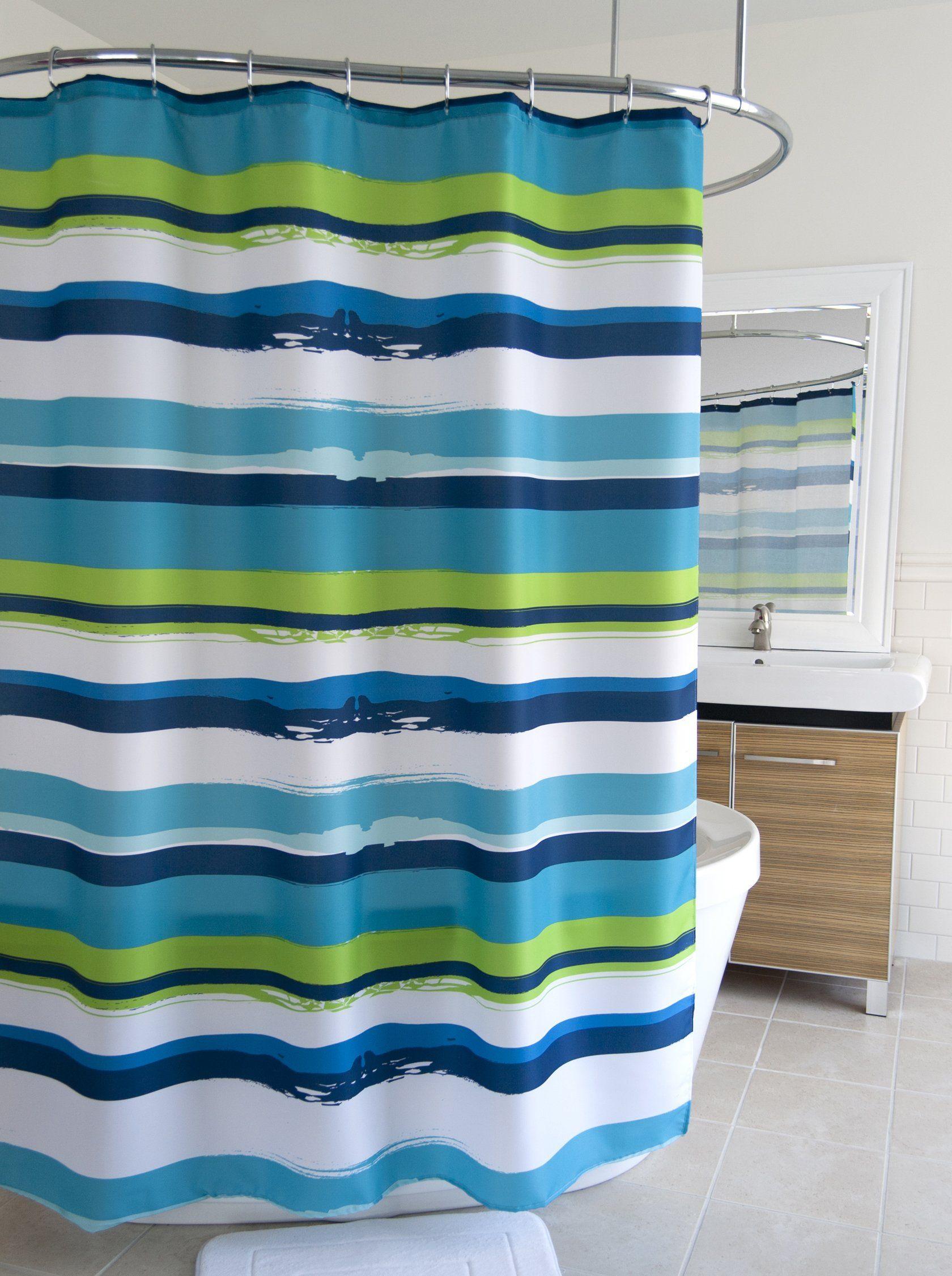 Splash Home Shower Curtain 70 By 72 Inch Oblique Green Shower