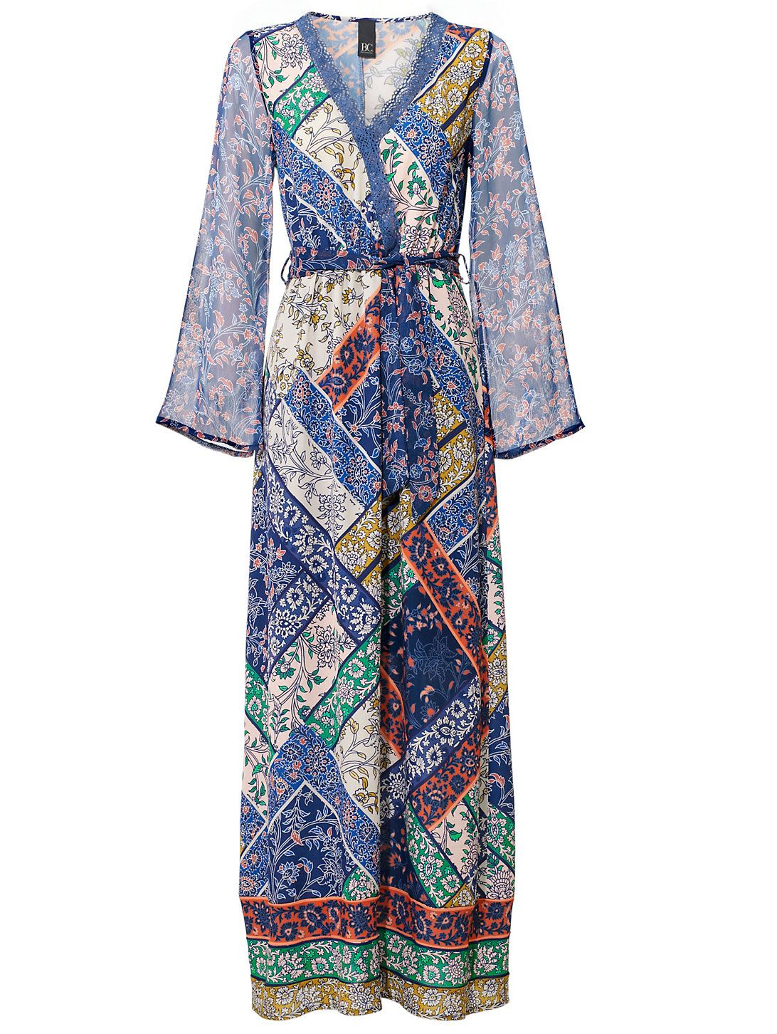 b963de2afe0b24 B.C. Best Connections by heine Impriméjurk multicolour blauw print blue  maxi dress maxi jurk