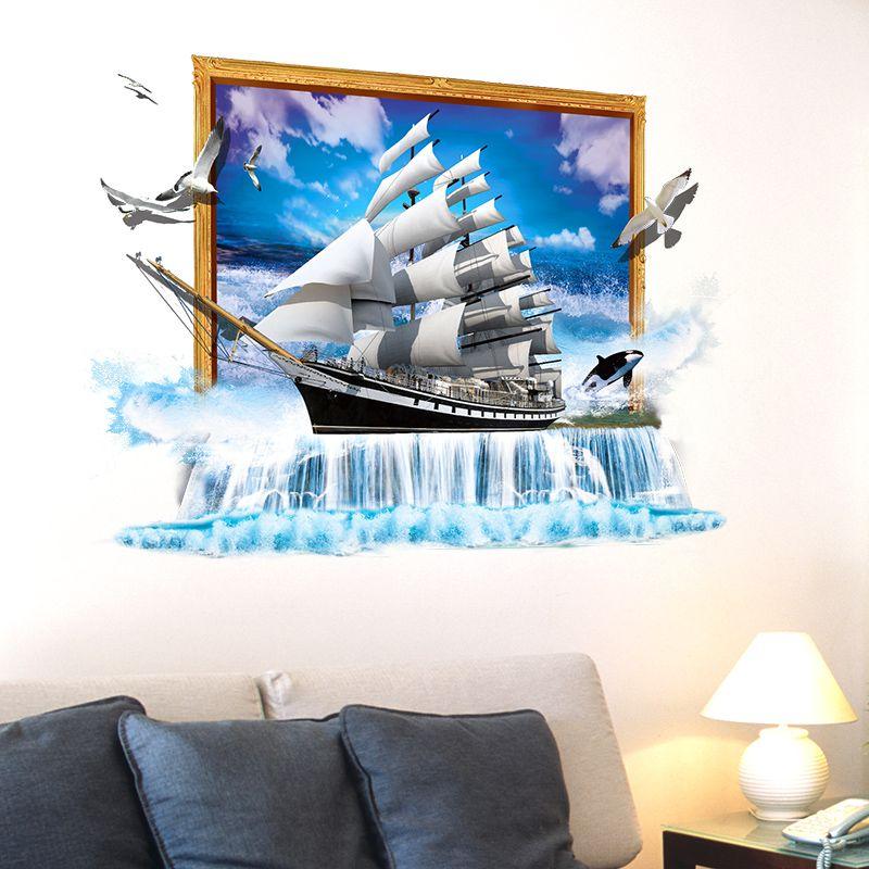 SHIJUEHEZI] Sailing Ship 3D Wall Stickers PVC Material Creative DIY ...