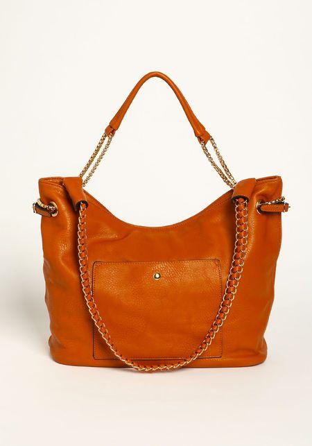 Leatherette Shoulder Bag, CAMEL, large
