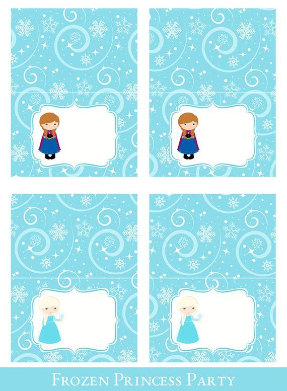 Frozen Tent Cards Tent Cards Printable Foldable Food Cards