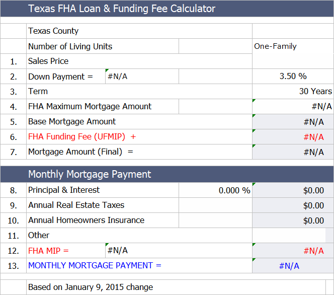 Texas Fha Loan Payment Calculator Fha Loans Fha Loan Calculator Fha Mortgage
