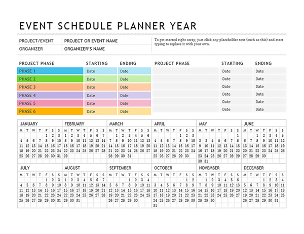 Use This Event Schedule Planner To Track All The Important Milestones Of Your Event The In 2021 Event Planning Quotes Event Planning Calendar Event Planning Template
