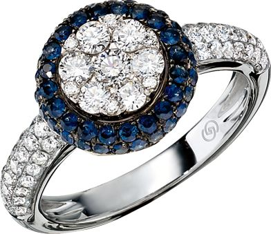 14K White Gold #Diamond Cluster & Blue #Sapphire Ring. Love this ring? Visit your local #GottliebandSons retailer and ask for style number 29031B