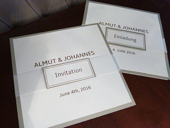EInladungskarten für Hochzeit, schlicht auf Büttenpapier