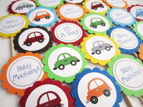 Cars Cupcake Toppers for Boy Birthday Party or Baby Shower Car - baby shower samples