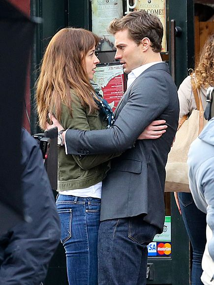 Close Call - Love this BTS pic of Jamie and Dakota  {#Christian saves #Ana from nearly being hit by a bike messenger} Filming on location in Vancouver. #FiftyShades #FSOG