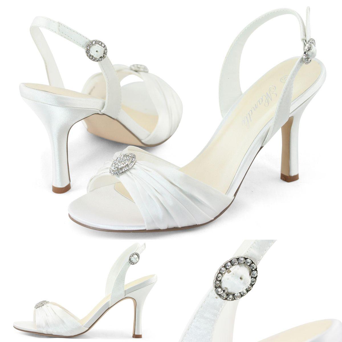 New womens wedding white rhinestones ruched satin stiletto