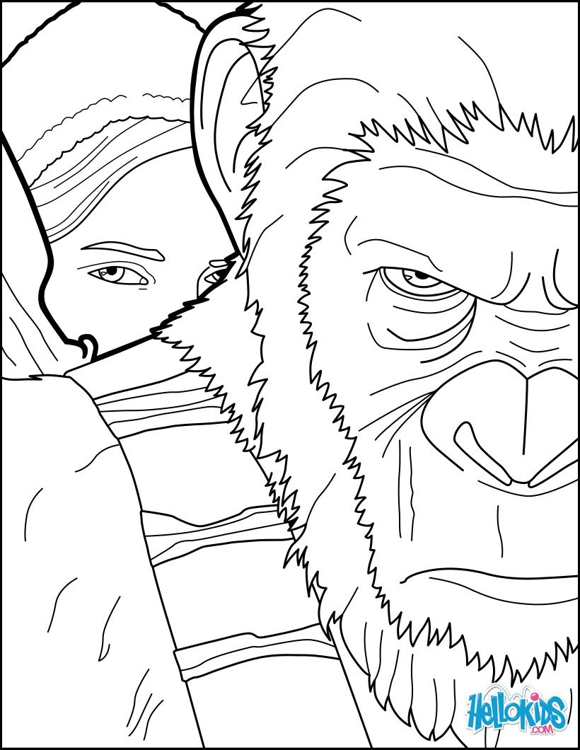 Coloring page from the new movie War of the Pla of the