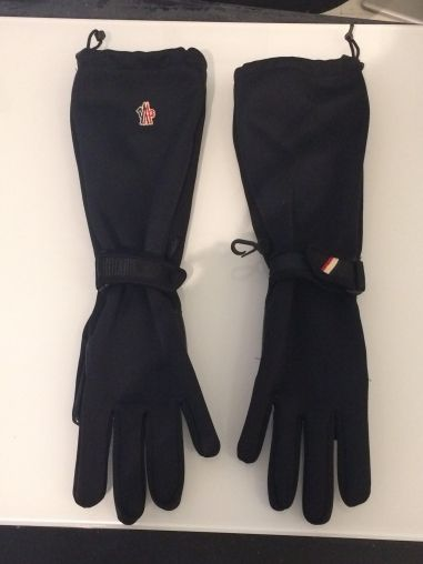 Long #gloves by #Moncler #black #fabric gloves with #leather