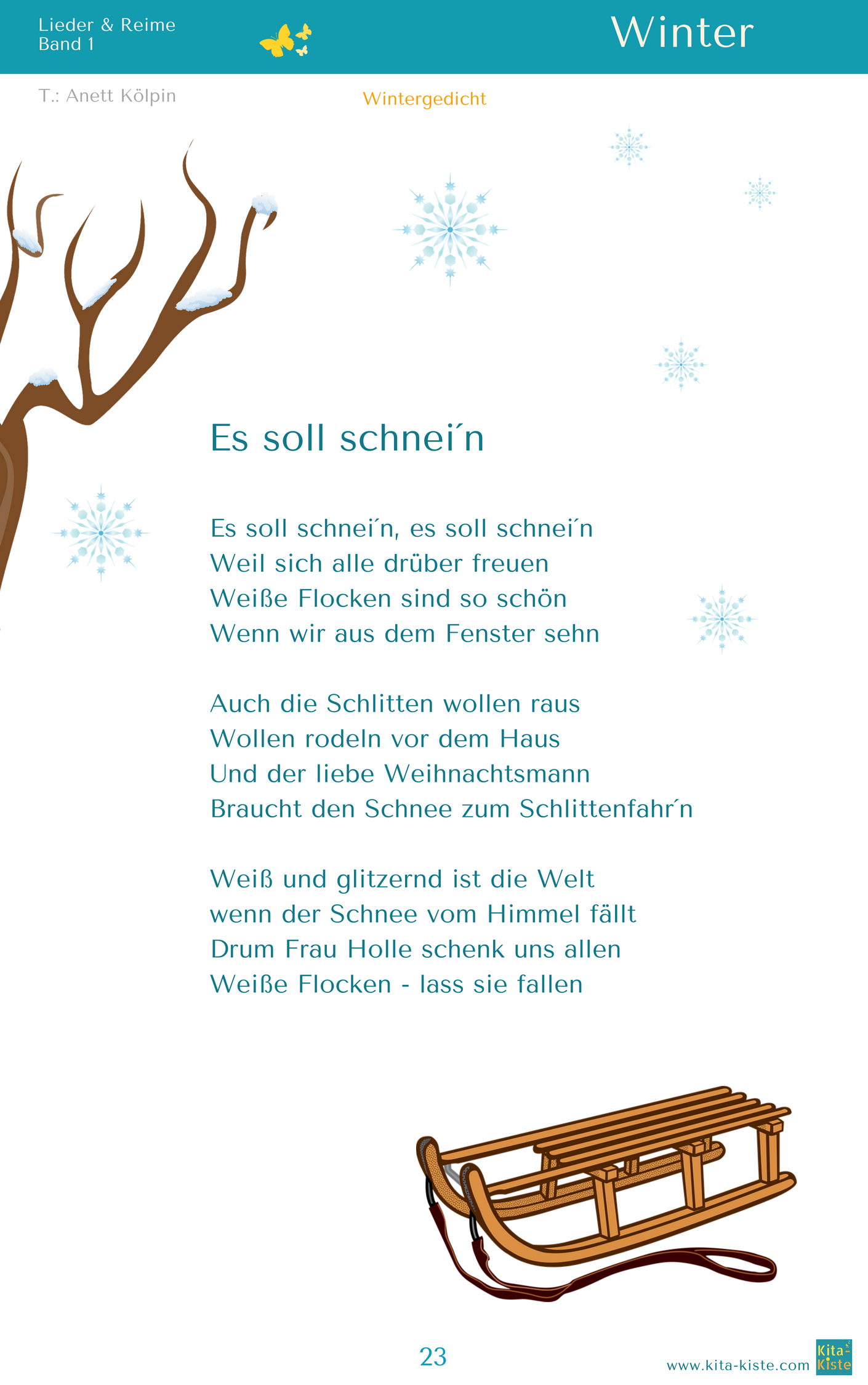 Kindergarten Reime Sprüche Quotes Soll Schnein Quot Winter Gedicht Aus Quotlieder And Reime