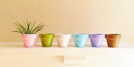 Pastel Mini Planters set of 6 hostess gift by RedwoodStoneworks