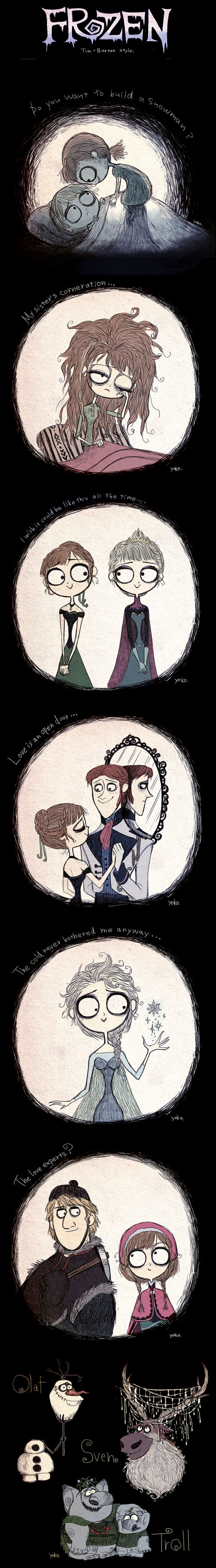 Disney's Frozen Illustrated In The Style Of Tim Burton