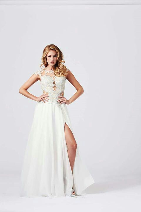 Enchanting evening gown! Cream colored, and slit down the side ...