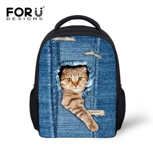 FORUDESIGNS Denim Cat Dog Baby Kids School Bags