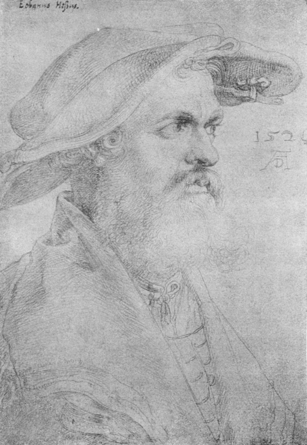 Artist: Dürer, Albrecht, Title: Porträt des Eobanus Hesse, Date: 1526