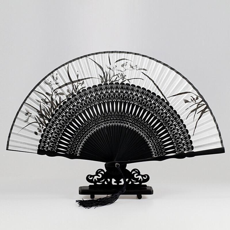 Top Fashion Silk Black Leques Japoneses Ladies Bamboo Folding Hand Fans Wholesale Personalized Fan Of Old Wedding Decoration 5 Hand Fan Folding Hand Fan Fan