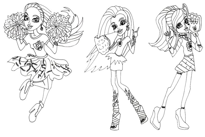 monster high coloring pages cheer google search - Girls Coloring Pages Monster High
