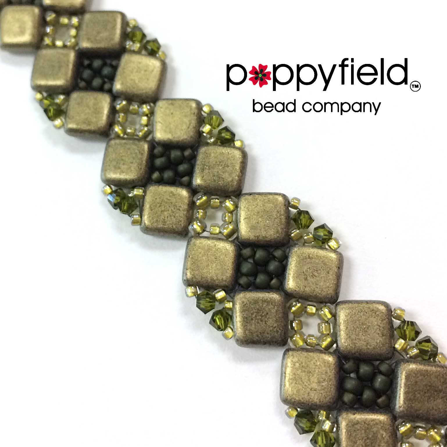 Julia Hecht's Version of Virginia Jensen's Simple Cluster Bracelet  This clever bracelet is created using  2-hole Tile beads and seed beads. Add the bicones as a sparkly option! Happy Hour - Friday, March 20, 2015.