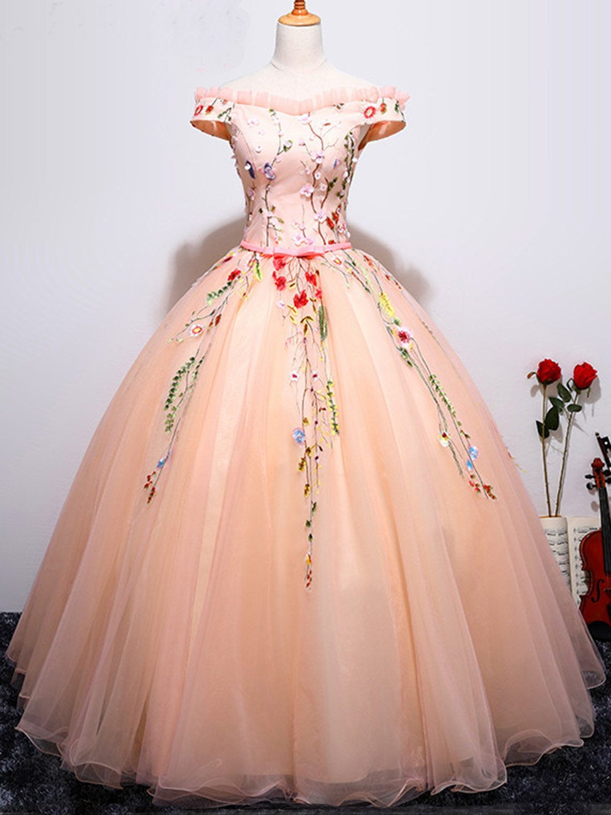 Beautiful prom dresses ball gown offtheshoulder long chic prom