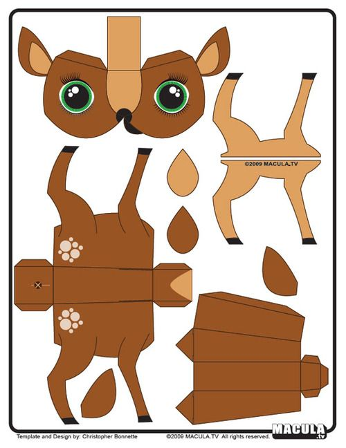 Diy Deer Paper Toy Free Printable From Paper Toys Art Paper