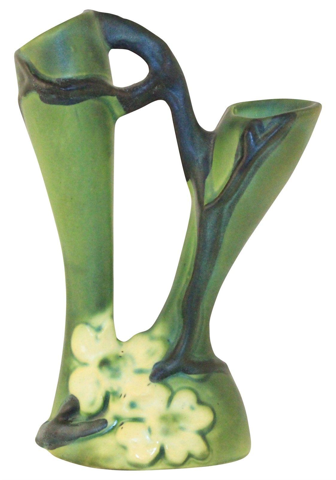 Roseville Pottery Dogwood Smooth Double Bud Vase Pottery Art
