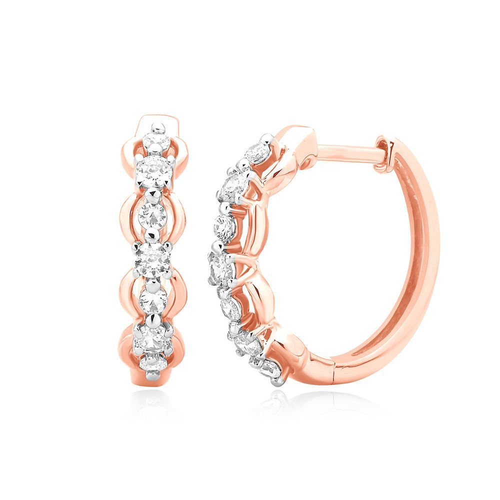 55f28385260fc 0.50 Ct Round Cut Natural Diamond Hoop Earrings Huggies 14k Rose Gold  Womens  CaratsForYou  Hoop
