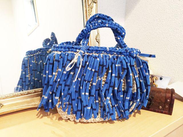 ニット紐(ズパゲッティ)と麻ひもバッグ (ミックスブルー) by mee-yuu*ann バッグ・財布・小物 バッグ