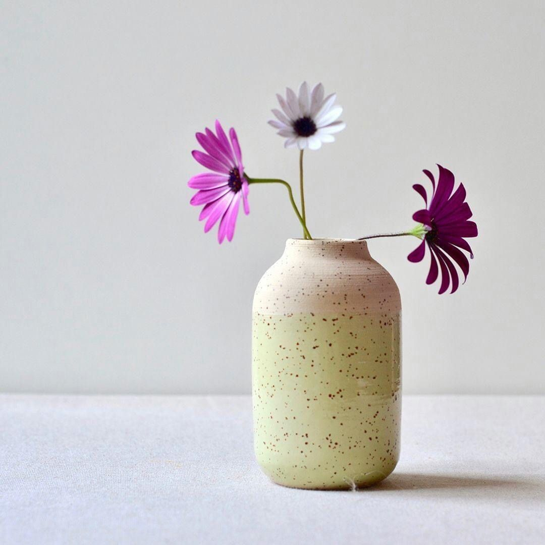 """""""You can cut all the flowers, but you can never keep spring from coming.""""  ~ Pablo Neruda  Speckled clay vase with transparent glaze...  #pabloneruda #seekthesimplicity #etsyseller #differencemakesus #porcelain #instapotter #pottersofinstagram  #craftsmanship #designermaker #ceramist #ceramicslifestyle #ceramicdesign #ceramicslifestyle #contemporaryceramics #modernpottery #oneofakind #speckledclay #potterywheel #wheelthrown #makersmovement #budvase #greenvase #stoneware #makersmovement #handthro"""