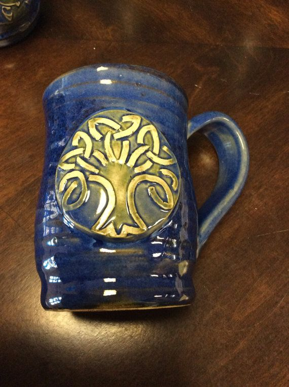 Gorgeous Blue Mug with Celtic Tree of Life by DawnDesignsPottery