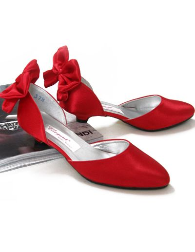 9b6423bfd82 Brilliant Red Mid Heel Satin Wedding Shoes