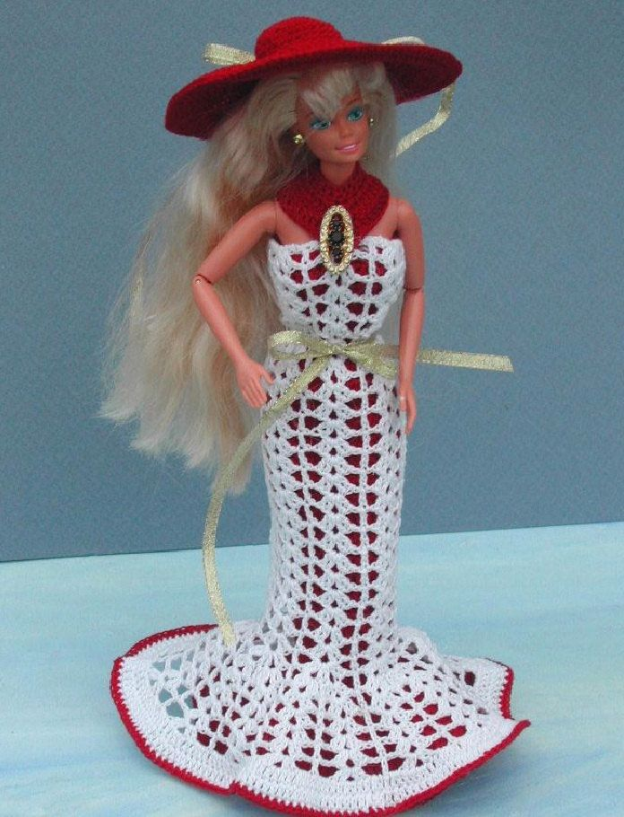 Crochet Fashion Doll Barbie Pattern- #51 FANCY FROCK #3 | Barbie ...