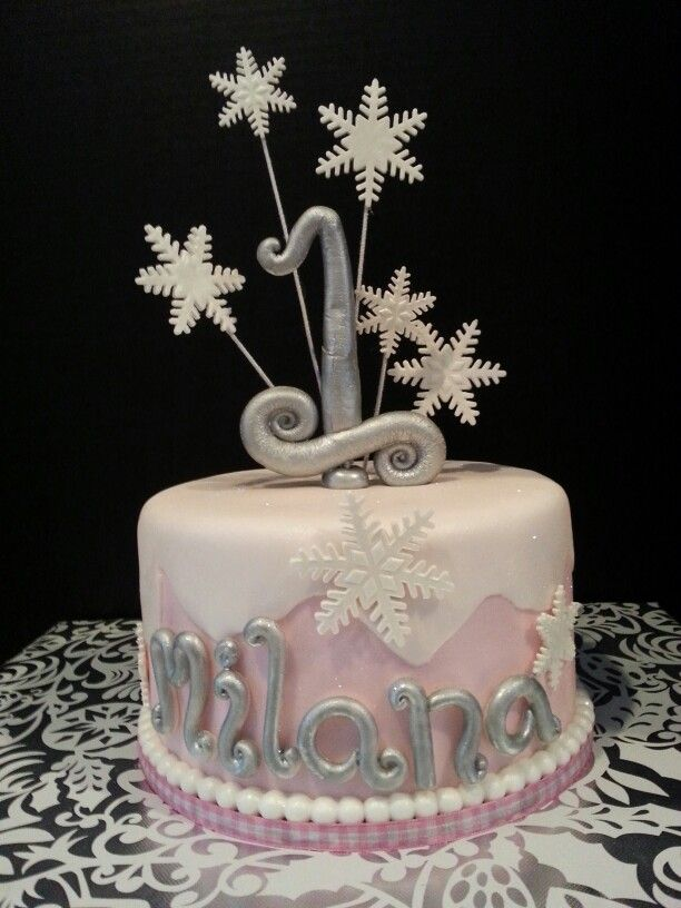 Winter Themed 1st Birthday Cake By Red Really Enticing Desserts