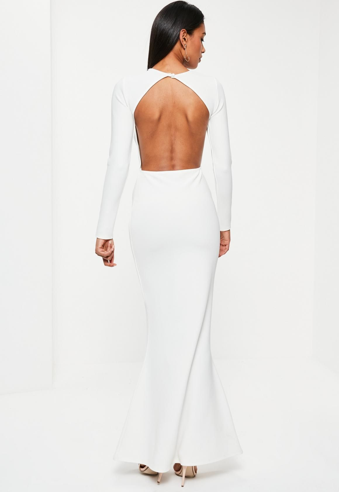 796e323d20a Missguided - White Long Sleeve Backless Maxi Dress