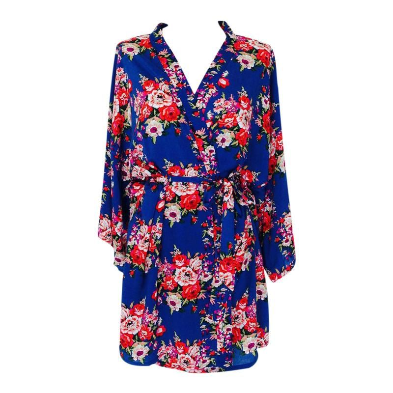 Bride to be dressing gown in navy blue cotton. Perfect for all your ...