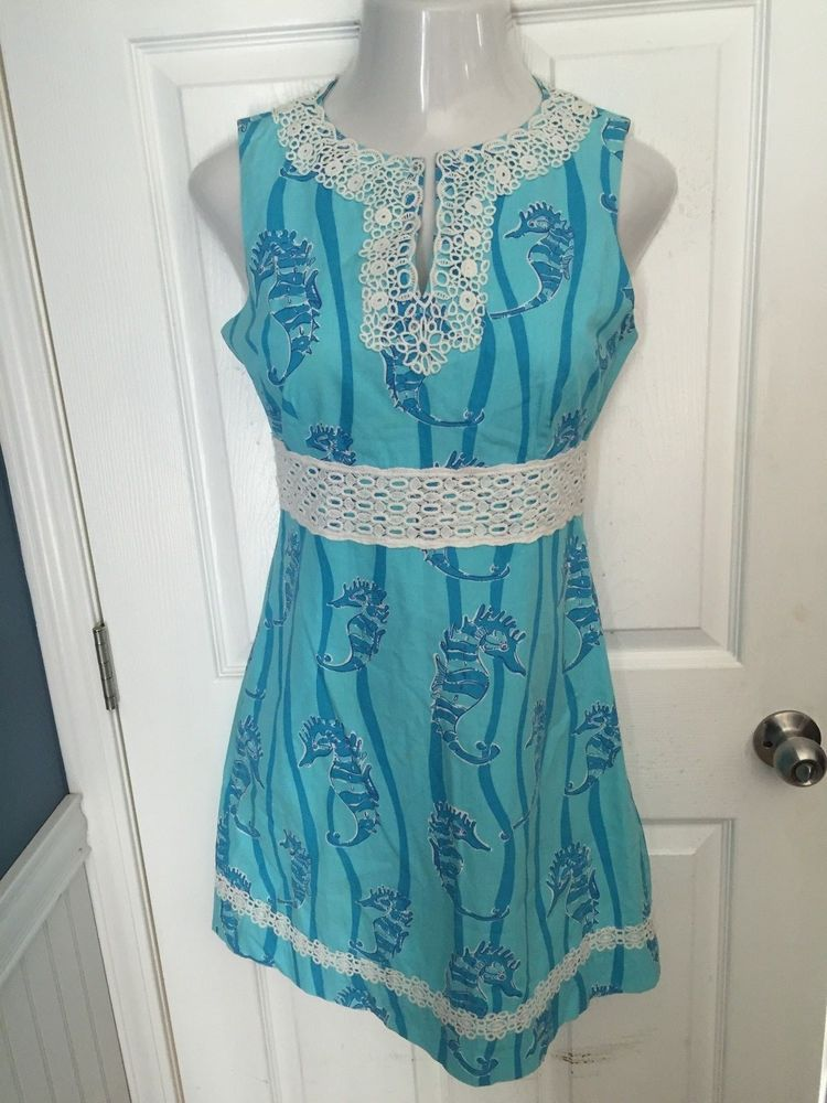 Lilly Pulitzer Size 6 Sleeveless Dress Seahorses Nautical Cruise Easter  #LillyPulitzer #Dress #Casual