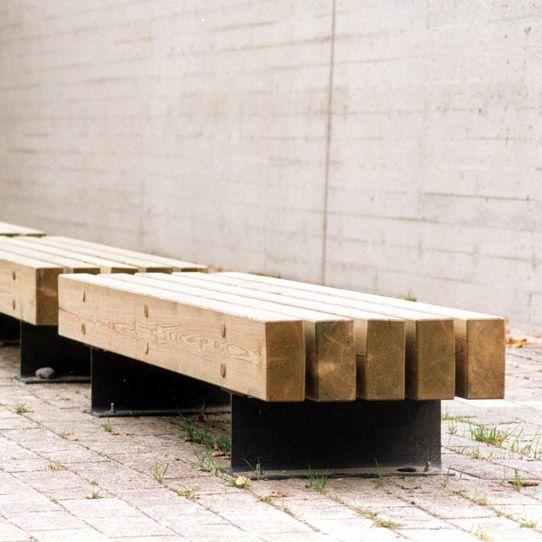 Banc public / contemporain / en acier / en bois TRAMET by Enric ...