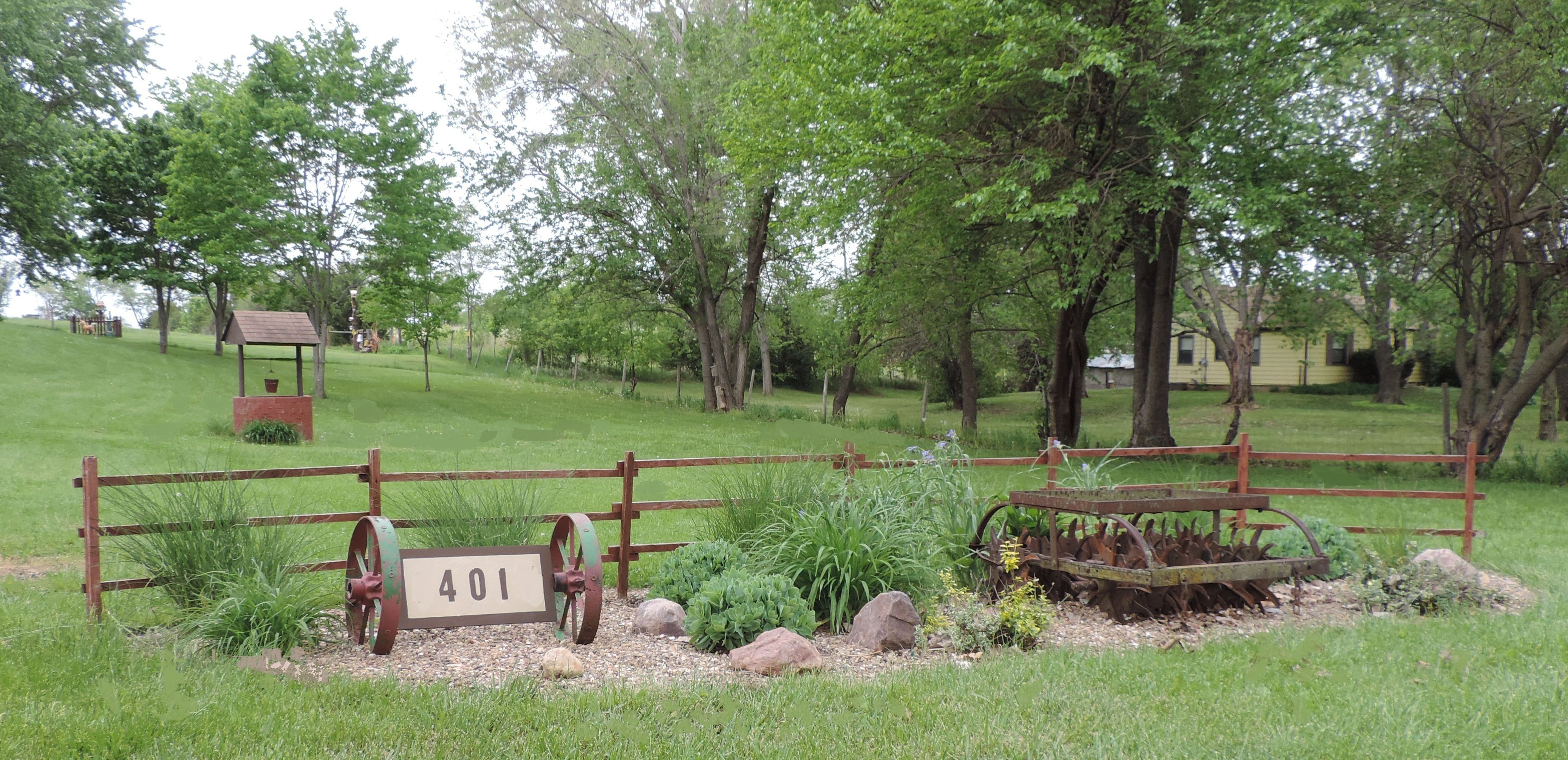 Rock garden for the front yard. I made a house address sign using ...